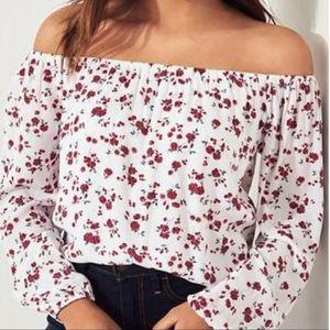 Hollister off shoulder floral long sleeve crop